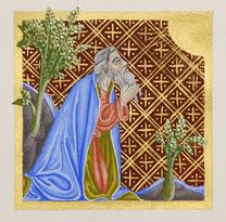 Enluminure religieuse de style gothique, par Martine Saussure-Young, Or-et-Caractères