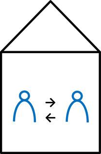 """Ein Icon, welches das Geben und Nehmen von """"Wohnen für Hilfe"""" abstrakt darstellt."""