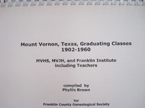 Cover of Mount Vernon, Texas, Graduating Classes, 1902-1960: MVHS, MVJH, and Franklin Institute, Including Teachers