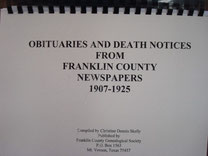 Cover of Obituaries and Death Notices from Franklin County, Texas, Newspapers: 1907-1925 (Vol. I)