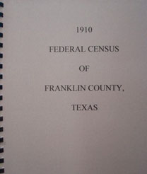 Cover of 1910 Federal Census of Franklin County, Texas