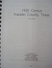 Cover of 1930 Federal Census of Franklin County, Texas