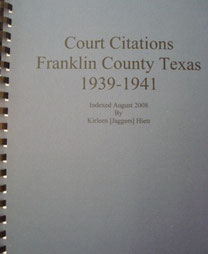 Cover of Court Citations of Franklin County, Texas, 1939-1941
