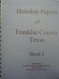 Cover of Heirship Papers of Franklin County, Texas -- Book I