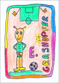Grashüpfer Ellerbäh: Spielen in gelben Fussballschuhen, haben die knappsten Sporthosen.