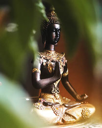 Buddhastatue in schwarz und golden in Meditation