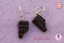 Boucles d'Oreilles Tablettes de Chocolat Croquées