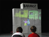 Trickfilmprojektion auf der Bühne