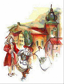Herolde und historische Gebäude aus Oberviechtach (Zeichnung)