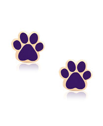 earrings, jewelry, kids, child, gifts, rehoboth, baby, boutique, store, shop, lewes, leverback, stud, post, lever back, training, gold, purple, dog, cat, paw, paw print, puppy, kitty, pet, love