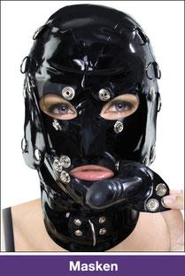 masken, latex, gumi, leder