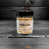 Genuss Hütte, Pfeffer-Salz Salz mit Bunter Pfeffer Mischung wird verwendet zu Fleisch-, Fisch- und Wildgerichten, Suppen, Saucen, Marinaden, Gemüsen und Salaten.