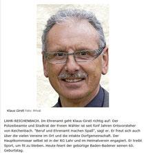 Der PSV Gratuliert  ( Quelle Badische Zeitung 24.10.2014)