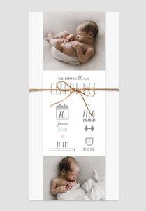 Geburtskarte mit Fotoanhänger