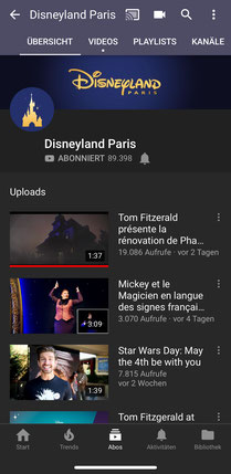 Disneyland Paris auf YouTube