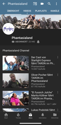 Phantasialand auf YouTube