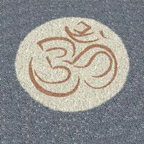 Gartenmalerei.de  - Kunst für den Garten, Symbol/Zeichen OM, Mandalas, Symbole, Zeichen, Logos - Bilder in den Garten, aus Carrara Marmorsplitt, Granitsplitt, Basaltsplitt,  Alternative zu Wiesengrün,