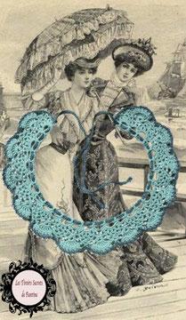 col Claudine au crochetd'Art, vert et perles de rocaille blanche, hypoallergénique, il se noue autour de votre cou avec un lacet