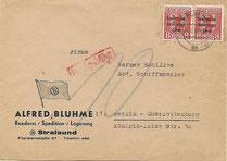 Postkrieg mit Nachgebühr wegen SBZ-Marken Berliner Bär Berlin Bear