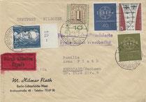 Postkrieg mit Gegenstempel zur Luftbrückengedenkmarke Air bridge memorial stamp