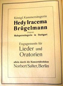 Künstleranzeige, April 1909 (Rheinische Musik- und Theaterzeitung)