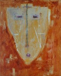 ORANGE MASKE, Acryl auf Leinwand, 80 x 100 cm, 2004