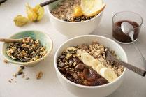 Geprüfte IN FORM-Rezepte, IN FORM, gesunde Rezepte, gesunde Ernährung, gesundes Essen, gesund essen, gesund abnehmen, abnehmen, gesund kochen, DGE, Deutsche Gesellschaft für Ernährung, Rezept, Porridge, vegan. veganes Porridge, veganes Porridge Rezept