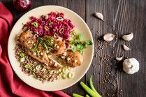 IN FORM, Geprüfte IN FORM-Rezepte, Rezept, Kochrezept, gesundes Rezept, gesund essen, gesundes Essen, gesunde Ernährung, Schnitzel, Pute, Putenschnitzel, Rote Bete, Wurzelgemüse, Mittagessen, Abendessen, gesundes Mittagessen, gesundes Abendessen