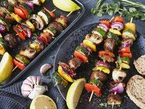 Geprüfte IN FORM-Rezepte, IN FORM, DGE, vegan, veganes Rezept, vegan kochen, vegane Ernährung, vegan essen, gesunde Ernährung, Ernährung, Gesundheit, Gemüsespieße, Gemüse, vegane Grillspieße, Grillspieße, vegan grillen, grillen, Grillrezept