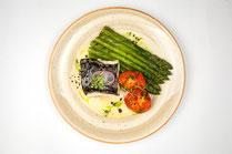 IN FORM, Geprüfte IN FORM-Rezepte, gesunde Ernährung, gesunde Rezepte, DGE, 10 Regeln, 10 Regeln der DGE, Wolfsbarsch, Spargel, Fisch, Fischgericht, Fischrezept, gesundes MIttagessen, gesundes Abendessen