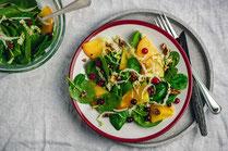 IN FORM, Rezepte, gesund, Salat, Kaki. Cranberry, Winter, Weinachtsessen