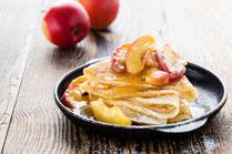 IN FORM, Rezepte, gesund, Apfel, Äpfel, Pfannkuchen, Apfelpfannkuchen, Frühstück, gesundes Frühstück, Dessert, Nachspeise, Nachtisch, gesunde Rezepte, gesunde Ernährung, Süßspeise, Obst, Palatschinken, Crêpe