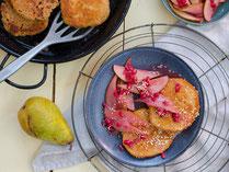 IN FORM, Rezepte, gesund, Granatapfel, Birne, Pancakes