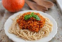 IN FORM, Rezepte, gesund, Kürbis, Pasta, Nudeln, Bolognese, Rezept, Vollkorn, Vollkornpasta, Gesunde Rezepte, Gesunde Ernährung