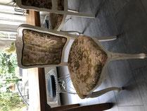 VERKAUFT Set à 6 Esszimmerstühle / Vintage-Stühle / Landhaus-Stil (gepolstert)