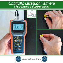 Metodo di controllo ad ultrasuoni con misurazione a doppio punto con rotazione di 90°