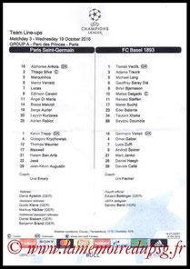 Feuille de match  PSG-FC Bâle  2016-17