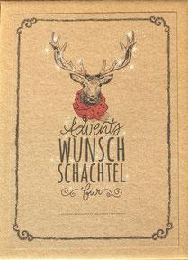 Advents wunsch schachtel ist ein Adventskalender mit 24 zauberhaft und liebevoll illustrierten Wunschzetteln. Die Wünsche können auf der Rückseite aufgeschrieben werden,. In der Box A6 befinden sich auch eine kleine Kerze, Zündhölzer, ein Bleistift ,