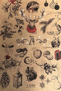 Adventkalender befüllt mit 24 Karten zum beschriften auf der Rückseite 1. bis 24. Dezember mit zauberhaften weihnachtssujets aufsteigend illustriert als ob 24 Türchen geöffnet werden.