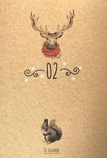 Bild zauberhaft illustriert mit Eichhörnchen vom 2. Dezember im Adventskalender mit 24 Wunschzetteln zum selber beschriften auf der Rückseite, Postkartenformat aus ökologischem Papier, nachhaltig und hochwertig als individueller Adventskalender