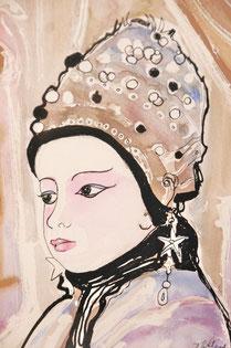Les yeux de Dalil, aquarelle encre de Chine. D.Petit