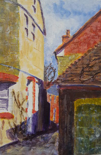 """Shaftesbury,Park Walk East"" 20.5 x 30.8cm mixed media on cradled board. PWE01mm"