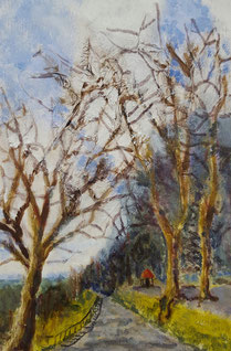 """Shaftesbury,Park Walk West"" 20.5 x 30.8cm mixed media on cradled board. PWW01mm"