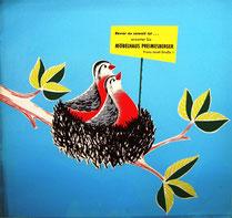 Werbung mit Humor: Vögel bauen sich ein Nest. Allegorisches Motiv der Häuslichkeit. Plakat für ein Möbelhaus um 1960.