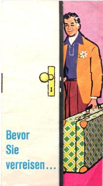Bevor Sie verreisen ... Urlaubsservices der Zentralsparkasse. Werbeprospekt um 1960.