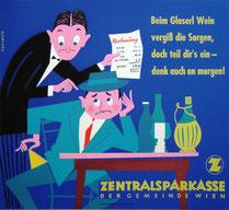 Humor in der Werbung: Plakat der Sparkasse mahnt zum sparsamen Umgang mit Geld. Wirtshausrechnung 1959.