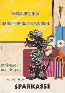 Humor in der Werbung. Pudel. Werbung für Geldumtausch bei der Sparkasse. Plakat der 1960er Jahre.