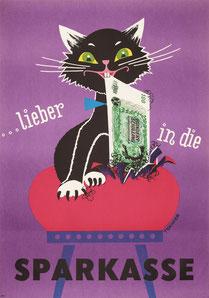 Humor in der Werbung: Katze zerstört verstecktes Geld. Sparkassenwerbung um 1962.