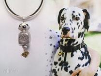joya-artistica-con-pelo-animal-mi-miga-collar-cuero-plata-ley-donut-porcelana-dalmata-perla-cristal-charm-superman-perro-shekel
