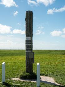 Bild: Wasserstandspegel auf Hallig Hooge